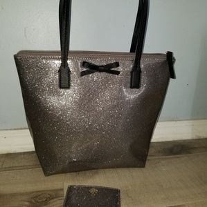 Kate spade glitter tote glitter bug with wallet